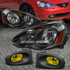 BLACK HOUSING CLEAR HEADLIGHT+CORNER+AMBER DRIVING FOG LIGHT FOR 02-04 ACURA RSX
