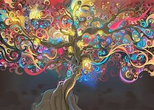 ABSTRACT COLOURFUL TREE SPIRITUAL PATTERN WALL ART CANVAS PICTURE PRINT 20X30""