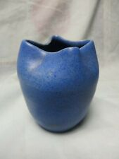 VINTAGE BLUE SPECKLES ART POTTERY VASE,SIGNED KIRBY,PINCHED TOP,4 1/2