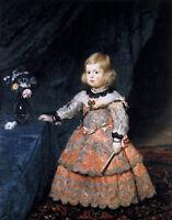 Beautiful Oil painting Diego Velazquez - Infanta Margarita by a rose flower vase