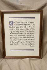 "Original hand lettered Calligraphy LORD'S PRAYER framed gold leaf 11x14"" ca 1985"