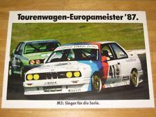 BMW M3 E30 POSTER 23 - TOURENWAGEN EUROPAMEISTER 1987 / ORIGINAL VINTAGE in MINT