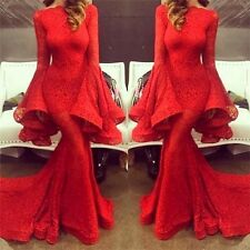 Stunning Red Mermaid Lace Prom Dresses Long Sleeve Evening Gowns For Party 2017