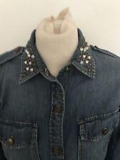 Current Elliott Black Studded Collar Blouse Shirt Top CE size 2 M