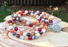 Mala Kette 108 Perlen Blume des Lebens Aventurin Mookait Achat Jade Gebetskette