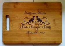 Personalized Bamboo Cutting Board For Wedding Christmas Anniversary Love Birds