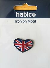 Habico Small Union Jack Heart Iron on Motif Patch Child or adult Embellishment