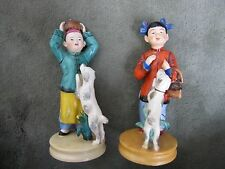 Pair of Vintage Chinese Ceramic Porcelain Boy and Girl with Dogs Figurines