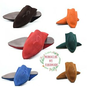 Morocco babouche suede slippers men house slipper Moroccan shoes soft leather