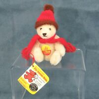 "Miniature Steiff Teddy Bear White 4"" 0203/10 Chest Tag, Ear Flag Signed Jointed"