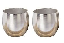 2 X Vase Übertopf Flaire Silber Höhe 13 Cm