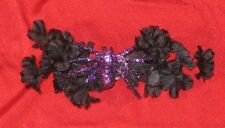 Handcrafted Black Flowers & Leaves & Purple Glitter Spider Barrette Hair Clip