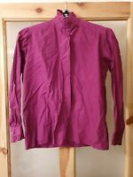 Tulchan Ladies Ruffled Blouse Purple Size Medium Pure Cotton