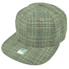Gray Plaid Pattern Striped Flat Bill Snapback Hat Cap Blank Plain Adjustable