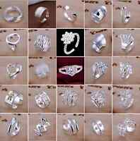 Wholesale 925 Sterling Silver Filled Ring Men's Women's Fashion Jewelry Size Q