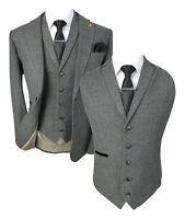 Men's Martez Grey Herringbone Tweed Peaky Blinders Waistcoat Blazer Trousers