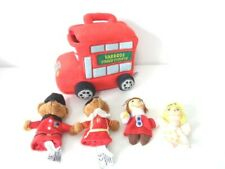 HARRODS OF LONDON SOFT PLUSH TOY BUS with 4 FINGER PUPPETS inc TEDDY BEARS