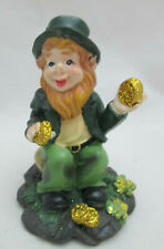 St. Patrick's Day Miniature Resin Leprechaun Figurine with Gold Pieces- 3""
