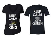 Couples Matching Shirts King Queen Matching Couple Vneck + Crewneck T-shirts BLK