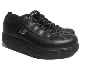Skechers Work Shape Ups Shoes 76428 Black Leather Slip Resistant Women's 7 US