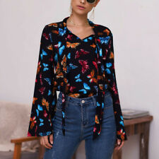 Womens Butterfly Print V Neck Long Sleeve Top Ladies Casual Loose T Shirt Blouse
