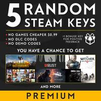 5X Steam Premium Random Key / PUBG, GTA V, RUST and more / REGION FREE