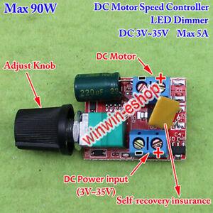3V~35V 5V 12V 24V 5A PWM DC Motor Speed Controller Adjustable Switch LED Dimmer