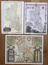 3 x Old Antique Colour maps of Buckinghamshire, England: 1600s & 1800's: Reprint