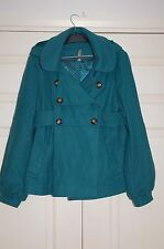 New TOPSHOP 12 Emerald Green Double Breasted Belt Back Full Skirt Jacket Xmas