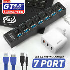 7 Port USB 3.0 HUB Powered +High Speed Splitter Extender PC Cable AU