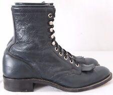 Olathe Boot 113391 Vtg Navy Kiltie Roper Western Boots Women's US 8.5AA
