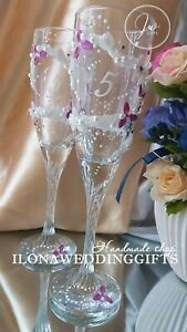 Personalized Wedding Champagne Wine Toast Glass Flute Mr Mrs Bride Groom Crystal