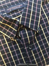 XL Roundtree & Yorke Long Sleeve Button Down Shirt, Blue & Yellow With Red Plaid