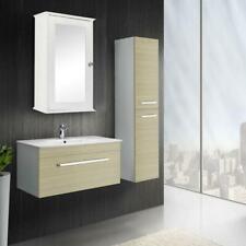 Bathroom Bath Cabinet Wall Mount Storage Organizer Rack w/ Mirrors Door