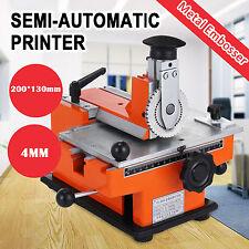 NEW Semi Auto Stamping Embossing Machine Deboss Metal Tag Plate Dog Tag Printer