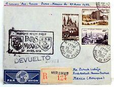 1952 PARIS MEXICO PAR AIR FRANCE COVER Premier vol AC92