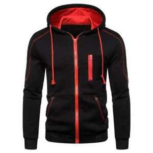 Mens Zip up Hoody Plain Hoodie UK ZIPPER Sports Jumper Hooded Coat Warm Jackett