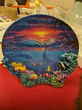The Hamilton Collection 3D Sealife At Sunset Plate Dolphins Sea Sunset Fish