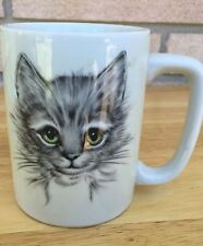 Otagiri Japan Coffee Mug - Cat Kitten Sketch Face - Green Eyes