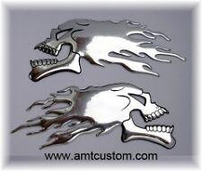 2 Emblèmes autocollant adhésif Skull tête de mort Relief 3D chrome moto custom