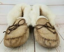 UGG Womens Size 11 Alena Suede Slippers Chestnut Tan Sheepskin Lined Moccasin