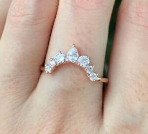 2.CT  Pear Cut Diamond Engagement Ring Stackable Curved Crown 14k Rose Gold Over