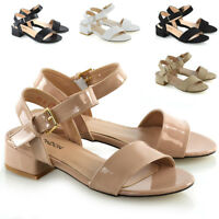 Women Low Heel Shoes Ladies Peeptoe Strappy Buckle Ankle Strap Sandals Size