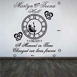 Personalised Wedding Clock Anniversary Keep Sake Wall Art Sticker/Decal