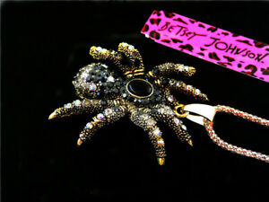 Betsey Johnson Cute inlay Crystal spider Retro Pendant Necklace