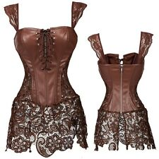 Plus Size Womens Steampunk Leather Corset Bustier Waist Cincher Brocade Brown US