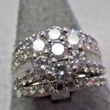 Set 14k White Gold Size 8 Make Offer 3 Piece 3.00 ctw Large Diamond Wedding Ring