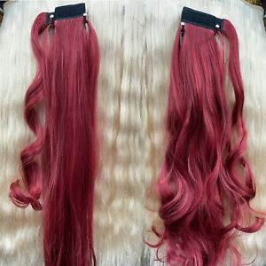 AS Human NEW Hair Wrap Ponytail Clip in Pony Tail Hair Extensions Light wine red