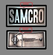 "SAMCRO  EMBOSSED  SONS OF ANARCHY   BIKER CREW  BELT BUCKLE   4 3/8"" X 2"""