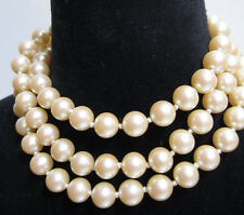 Necklace Long Vintage Faux Pearls 29 in knotted Classic wedding clasp inside